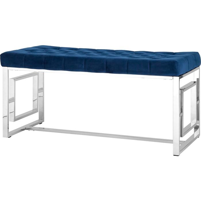 Банкетка-скамейка Stool Group Бруклин вельвет синий/сталь серебро Bench-012