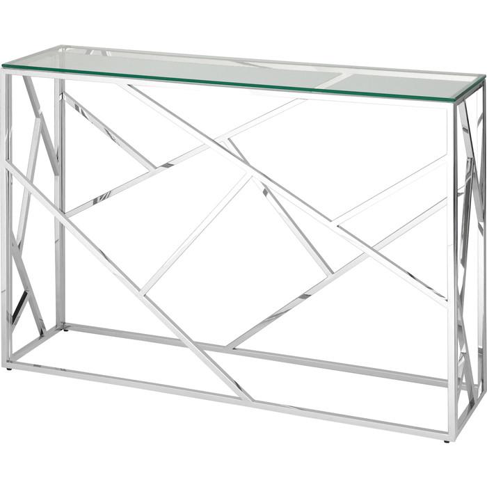 Консоль Stool Group Арт деко прозрачное стекло/сталь серебро ECST-015 (115x30)