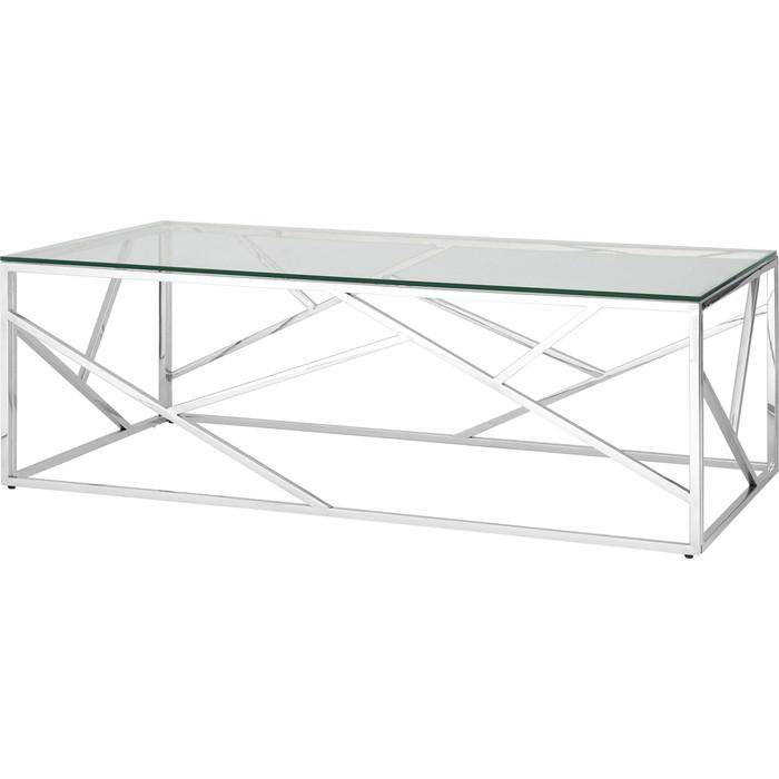 Журнальный стол Stool Group Арт деко прозрачное стекло/сталь серебро ECT-015