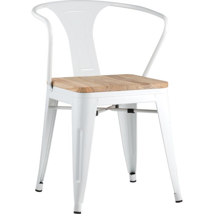 Фото - Стул Stool Group Tolix Arm wood белый глянцевый + светлое дерево YD-H440AR-W LG-02 стул stool group tolix arm wood черный глянцевый темное дерево yd h440ar w lg 01