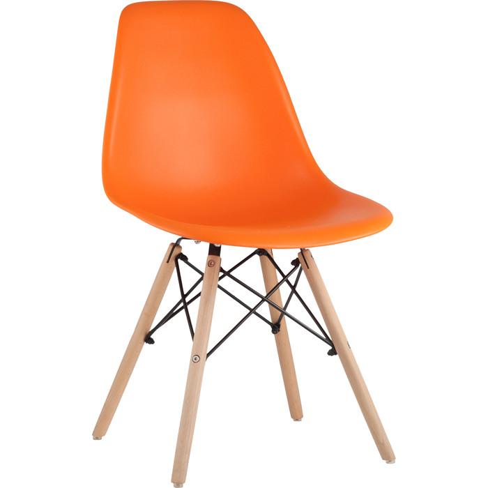 Стул Stool Group Eames оранжевый/деревянные ножки 8056PP orange недорого