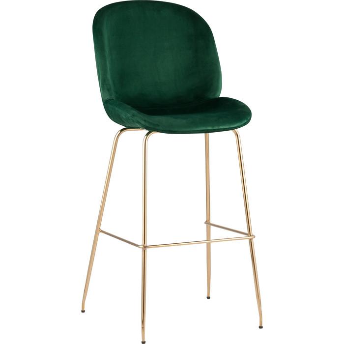 Стул барный Stool Group Турин со спинкой бархат изумрудный/золотые ножки 8329C green