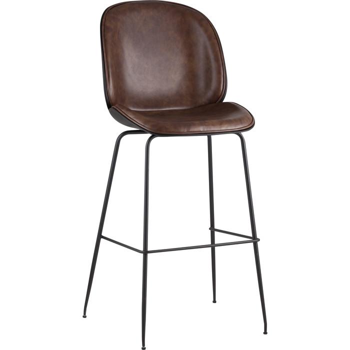 Стул барный Stool Group Турин со спинкой коричневый экокожа/черные ножки 9329C brown недорого