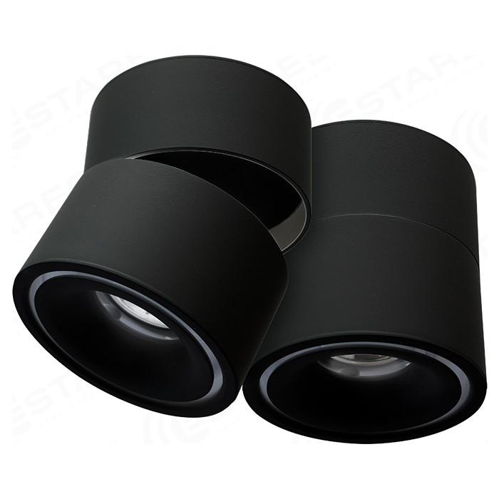 Светодиодный поворотный светильник Estares DRUM 12W R-100-WW-BLACK-220-IP44 светодиодный архитектурный светильник estares ms 06l k112a 6w r cw 30 grey 220 ip67