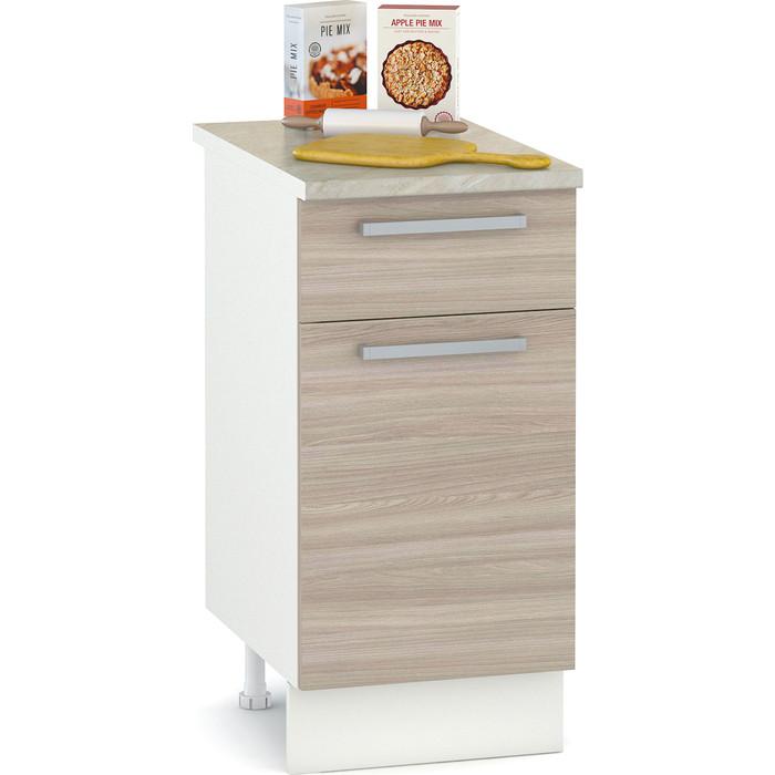 Стол 400 Моби Кухня Лима 1 ящик дверь белый/ясень шимо светлый/столешница мрамор бежевый
