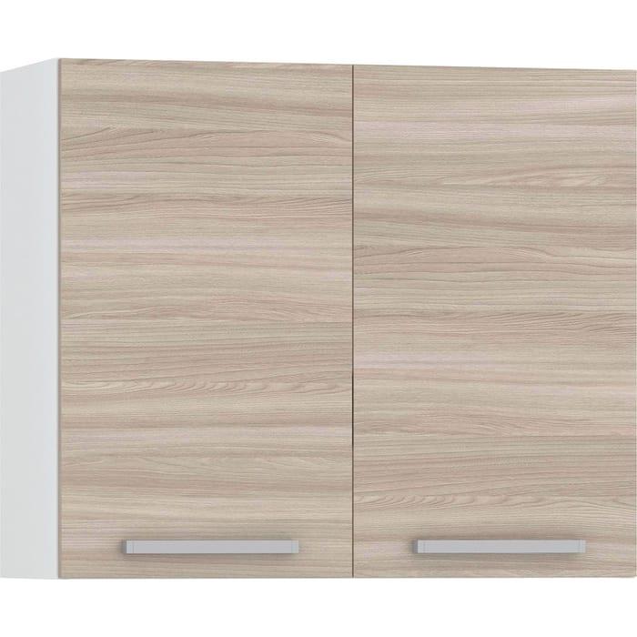 Шкаф навесной 800 Моби Кухня Лима 2 двери белый/ясень шимо светлый