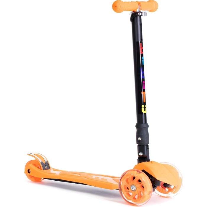 Самокат BIBITU для детей 3-12 лет, макс. нагрузка 80 кг, PLAY SKL-07D , складной, Оранжевый