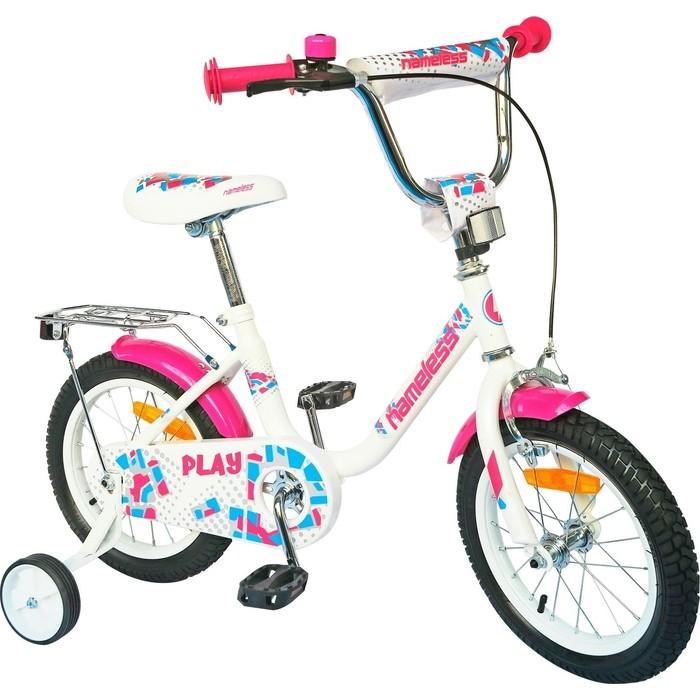 Велосипед Nameless 16 PLAY, белый/фиолетовый