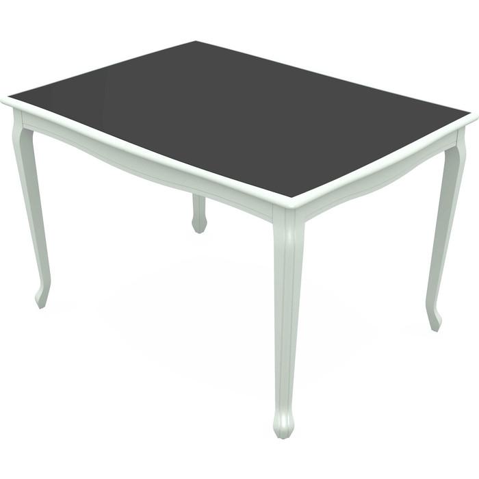 Стол Аврора Кабриоль Glass эмаль белая/стекло черное
