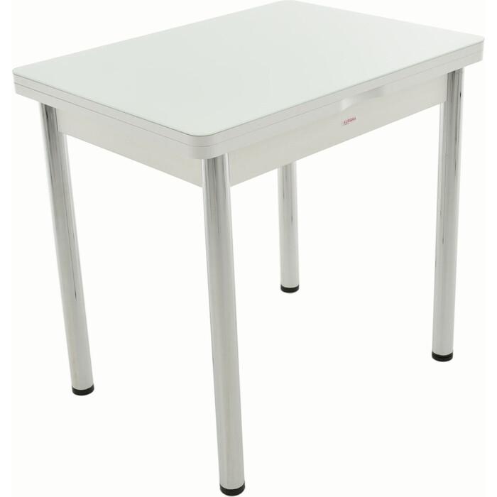Стол Аврора Бари мини белый/стекло белое