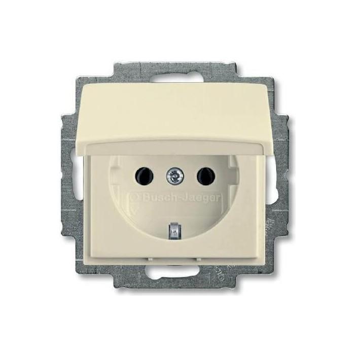 Розетка ABB Basic55 Schuko с/з 16A 250V с крышкой безвинтовой зажим слоновая кость
