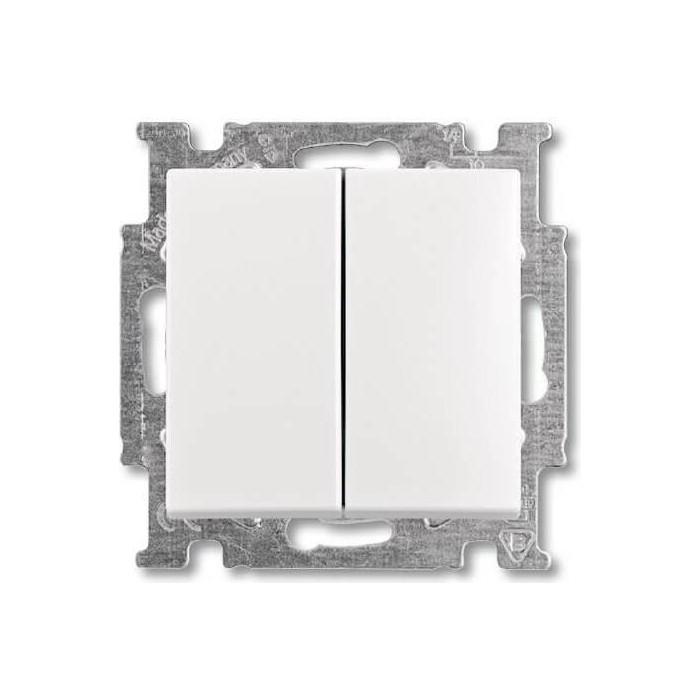 Выключатель ABB двухклавишный Basic55 10A 250V альпийский белый