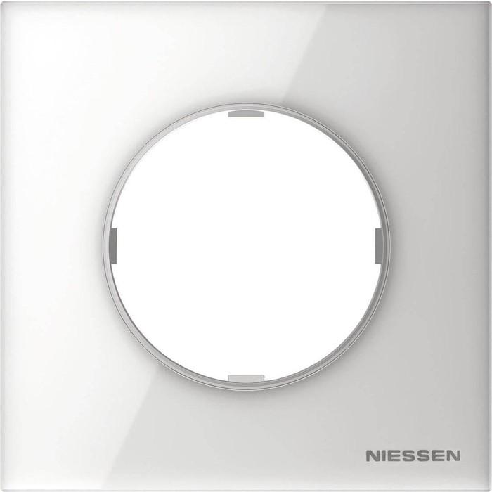 Рамка ABB 1-постовая Sky Moon стекло белое