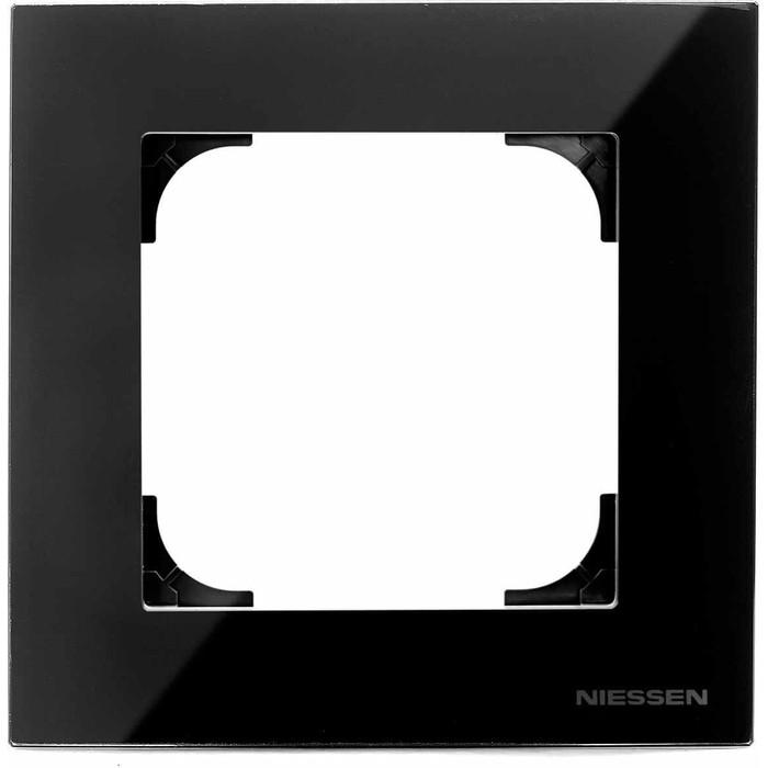 Рамка ABB 1-постовая Sky стекло чёрное