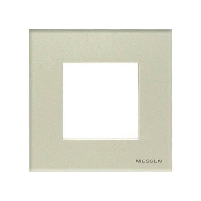 Рамка ABB 1-постовая Zenit стекло жемчужное