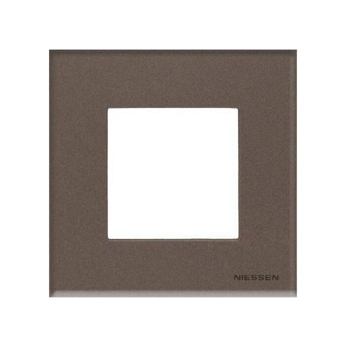 Рамка ABB 1-постовая Zenit стекло кофейное