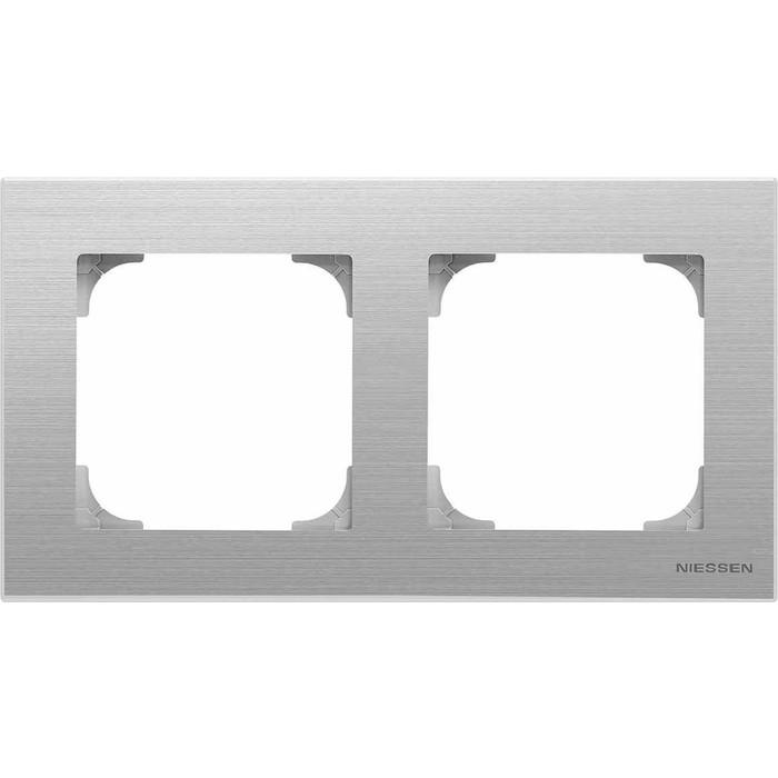 Рамка ABB 2-постовая Sky нержавеющая сталь