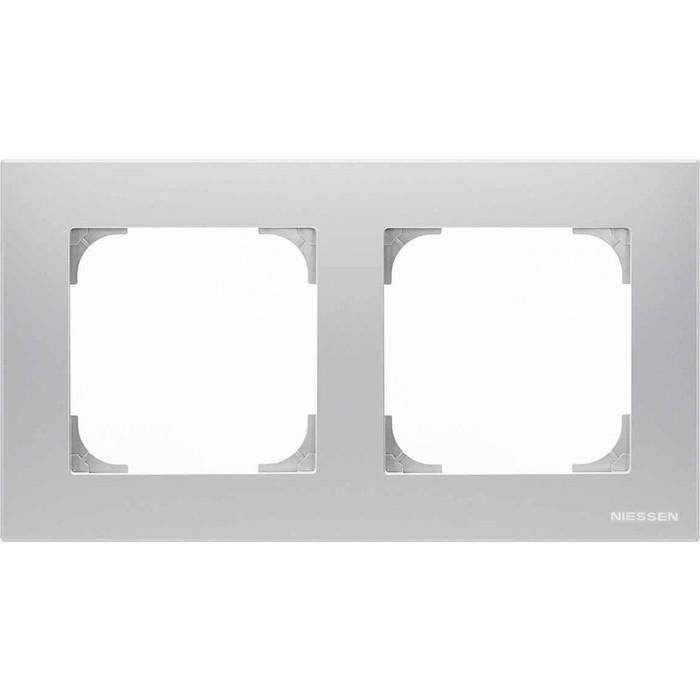 Рамка ABB 2-постовая Sky серебристый алюминий рамка abb 2 постовая sky чёрный бархат