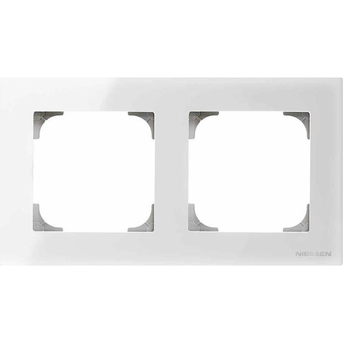Рамка ABB 2-постовая Sky стекло белое