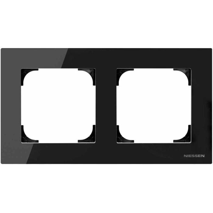 Рамка ABB 2-постовая Sky стекло чёрное