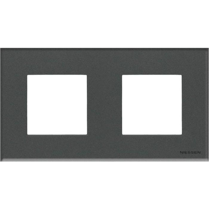 Рамка ABB 2-постовая Zenit стекло графит