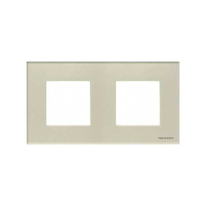 Рамка ABB 2-постовая Zenit стекло жемчужное