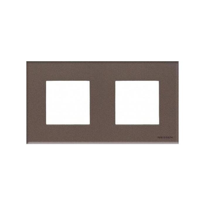 Рамка ABB 2-постовая Zenit стекло кофейное