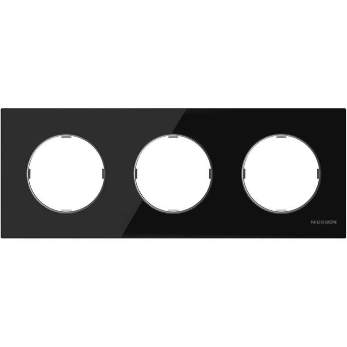 Рамка ABB 3-постовая Sky Moon стекло чёрное