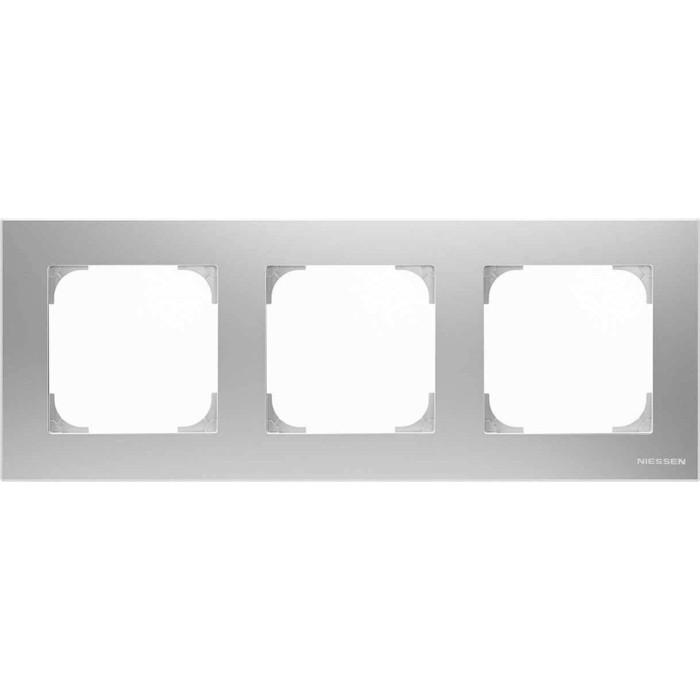 Рамка ABB 3-постовая Sky серебристый алюминий