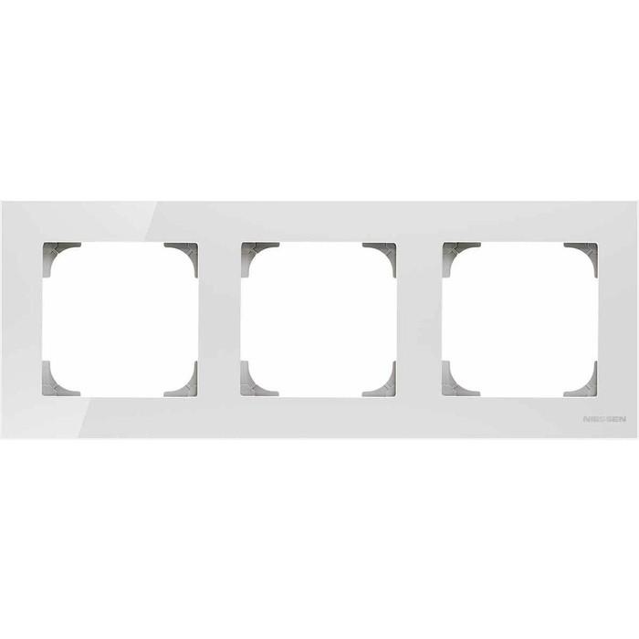 Рамка ABB 3-постовая Sky стекло белое