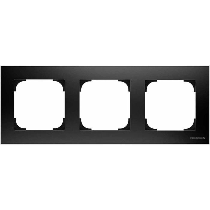 Рамка ABB 3-постовая Sky чёрный бархат