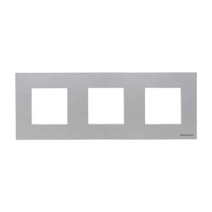 Рамка ABB 3-постовая Zenit серебро