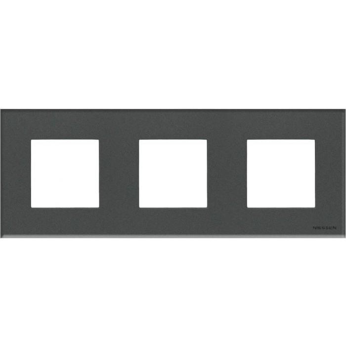 Рамка ABB 3-постовая Zenit стекло графит