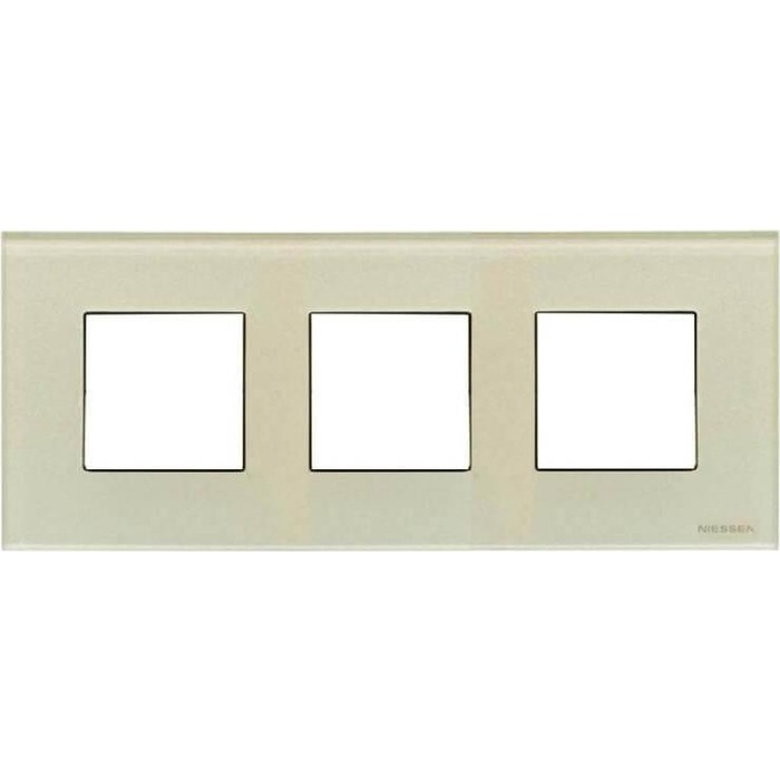 Рамка ABB 3-постовая Zenit стекло жемчужное