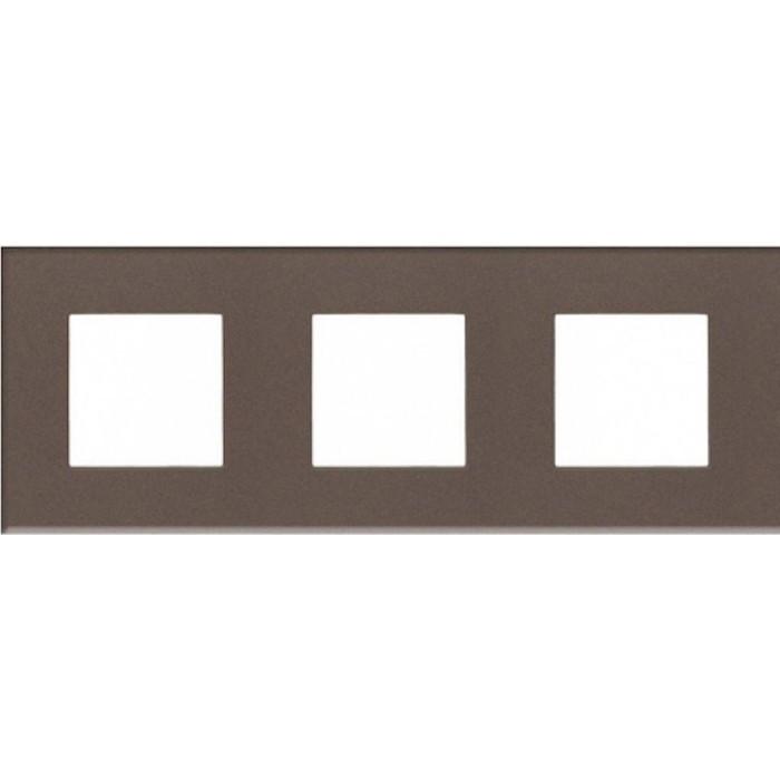 Рамка ABB 3-постовая Zenit стекло кофейное