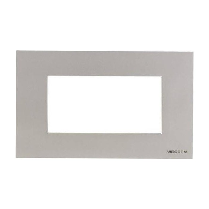Рамка ABB 4-модульная Zenit итальянский стандарт серебро