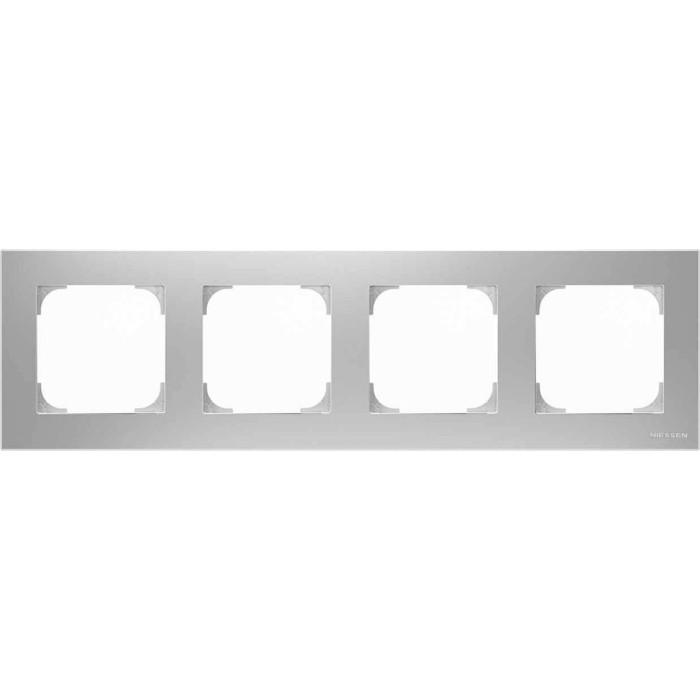 Рамка ABB 4-постовая Sky серебристый алюминий