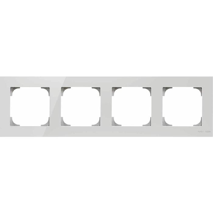 Рамка ABB 4-постовая Sky стекло белое