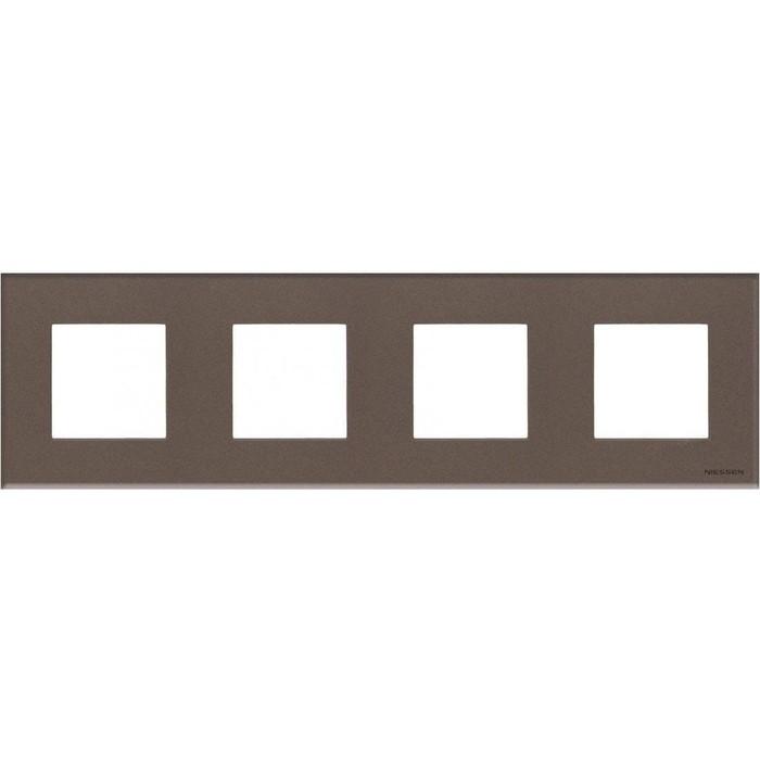 Рамка ABB 4-постовая Zenit стекло кофейное