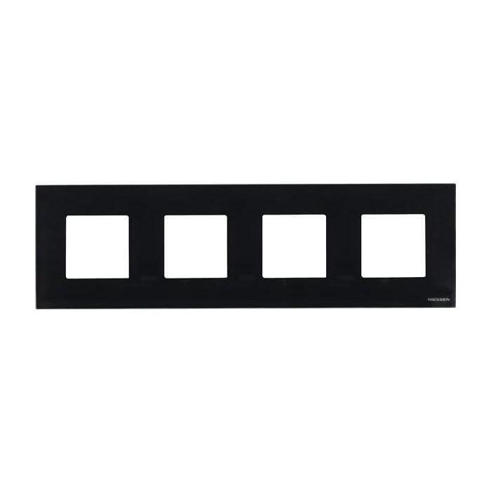 Рамка ABB 4-постовая Zenit стекло черное