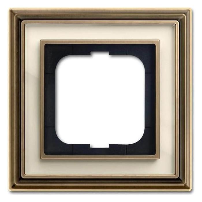 Рамка ABB 1-постовая Dynasty латунь античная/белое стекло