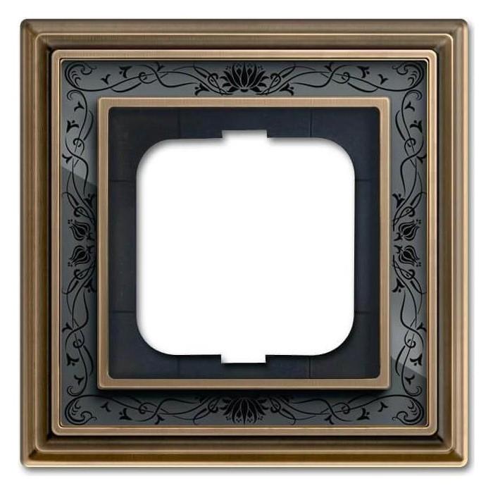 Рамка ABB 1-постовая Dynasty латунь античная/черная роспись