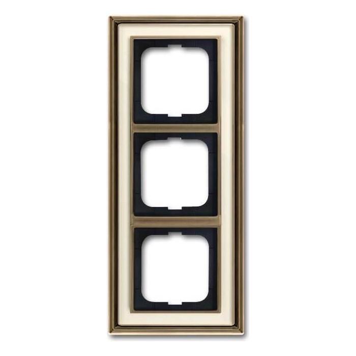 Рамка ABB 3-постовая Dynasty латунь античная/белое стекло