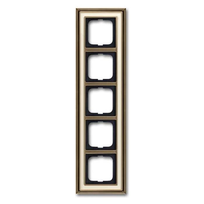 Рамка ABB 5-постовая Dynasty латунь античная/белое стекло