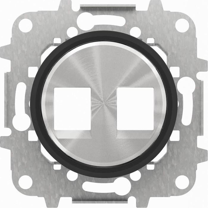 Лицевая панель ABB Sky Moon розетки 2xRJ45/RJ12 стекло чёрное