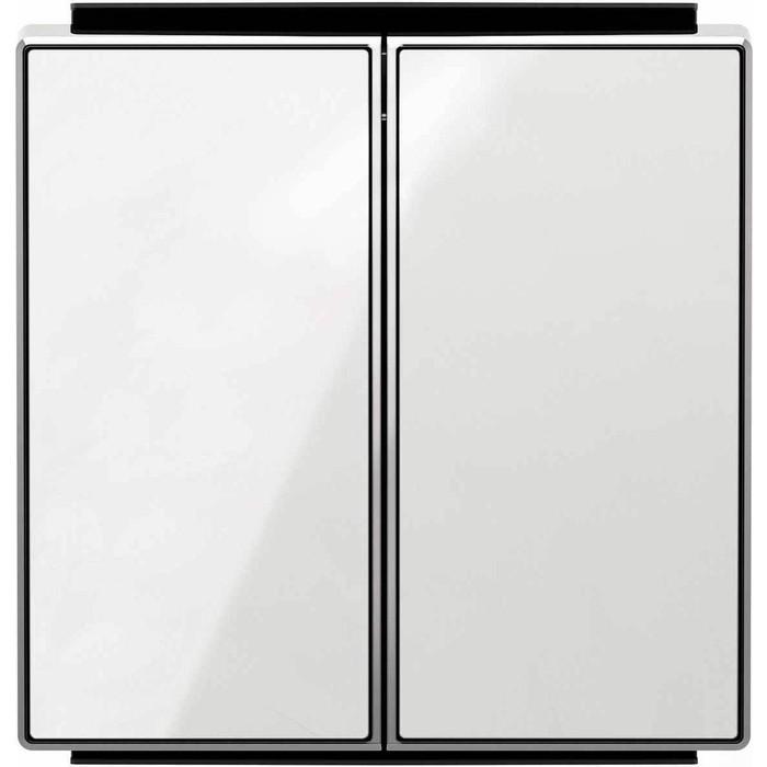 Лицевая панель ABB Sky выключателя двухклавишного стекло белое