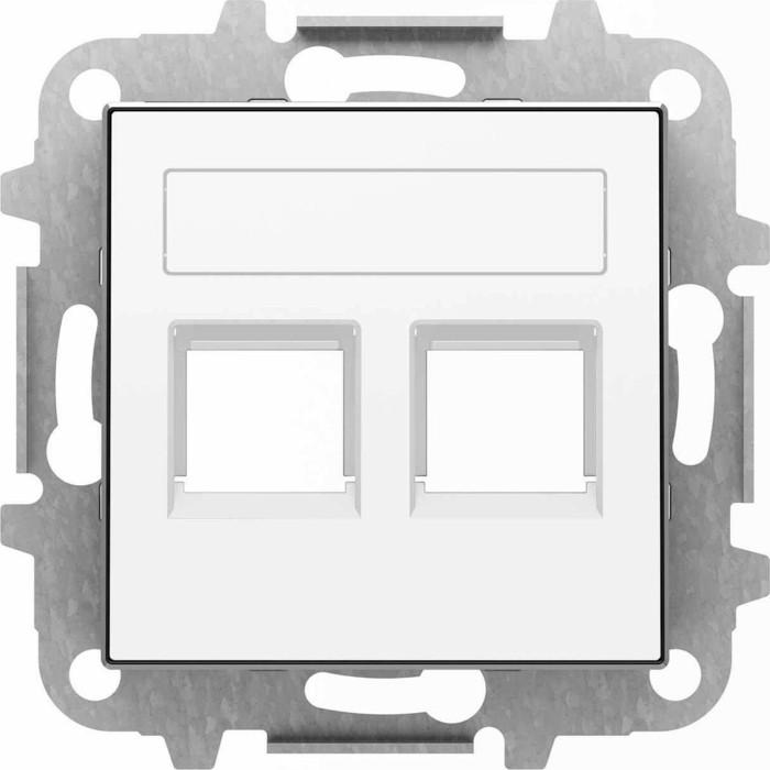 Лицевая панель ABB Sky розетки 2xRJ12/RJ45 со шторками полем для надписи альпийский белый
