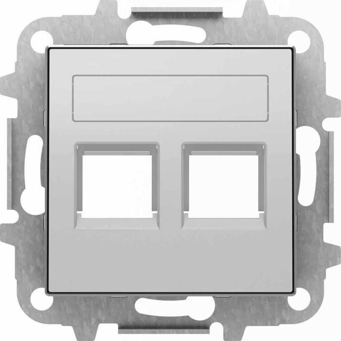 Лицевая панель ABB Sky розетки 2xRJ12/RJ45 со шторками полем для надписи серебристый алюминий