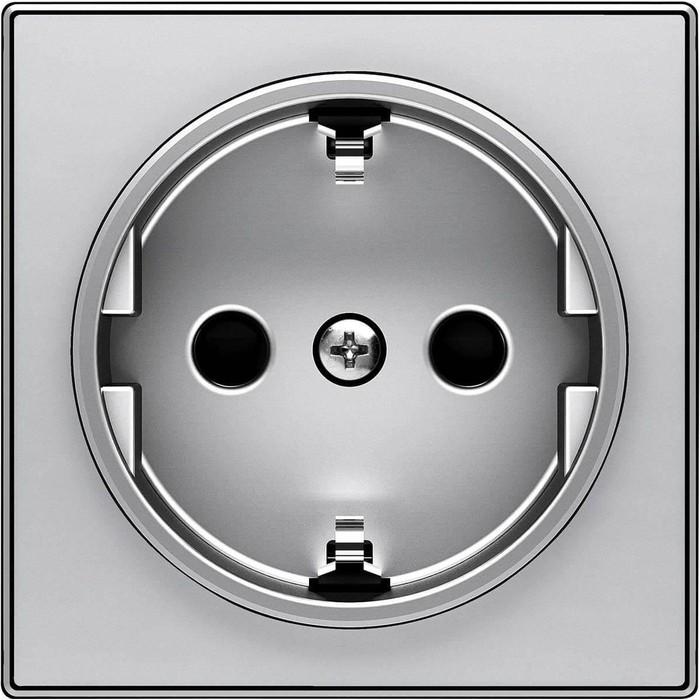 Лицевая панель ABB Sky розетки Schuko с/з серебристый алюминий