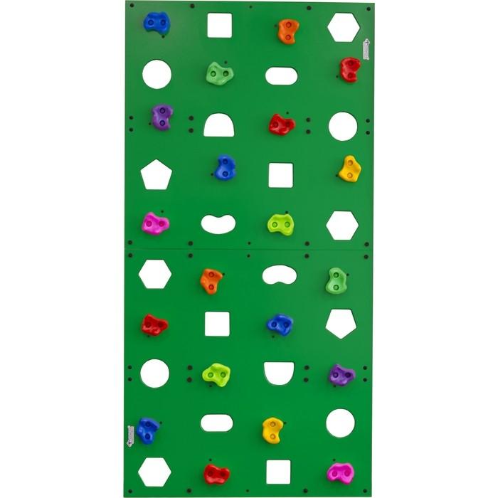 Скалодром Формула здоровья пристенный 1000*2000 стандарт ЭЛЬБРУС с отверстиями зелёный